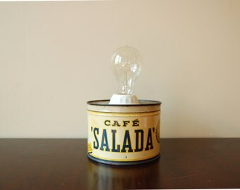 Small Table Lamp Upcycled Lamp Vintage Coffee Can With Edison Bulb
