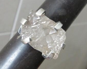 Raw Rough White Topaz Ring - Handmade jewelry - Natural stone ring