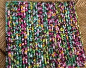 READY To  SHIP TODAY 8 x 7.5 Inch Hand Made Pot Holder, Colorful Kitchen Table Mat, Housewares, Multi Colored