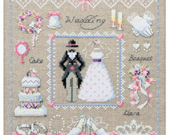 Wedding sampler cross stitch pattern and kit, counted cross stitch, wedding gown, wedding cake, wedding ring, wedding cross stitch
