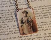 Graduate gift Clara Foltz First Woman Lawyer Feminist necklace mixed media jewelry