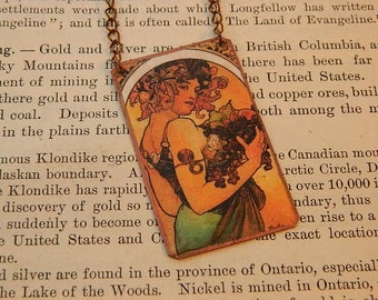 Mucha necklace Fruits mixed media jewelry art jewelry art necklace