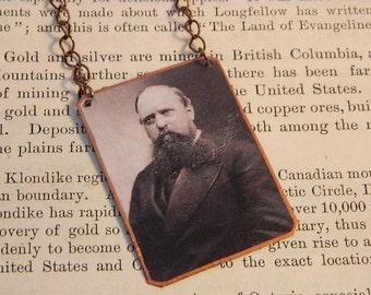 Paleontology necklace Othniel Charles Marsh mixed media jewelry