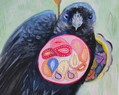 Magical realism, crow art, small painting, gouache and watercolor on paper, original artwork