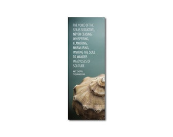 Photo Bookmark Seashell - Kate Chopin Quote - Beach Photography Book Lover Book Club Under 5 Stocking Stuffer Back to School