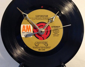 """Recycled CARPENTERS 7"""" Record / Superstar / Record Clock"""