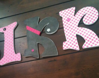 4 Personalized Hanging Wood Letters