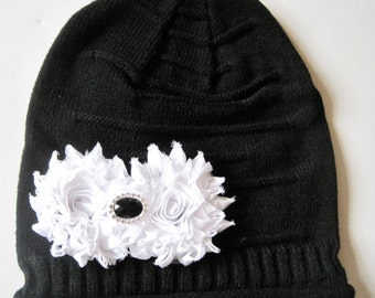 Black Youth Girls Youth Slouch Beanie with White Chiffon Flower and a Black and Rhinestone Accent Girls Winter Hats