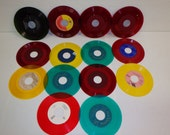 "COLORED VINYL Used Vinyl Records Red Yelllow Green Teal For Crafting, Crafting LOT of (14) records only 45 rpm 7"" inch"