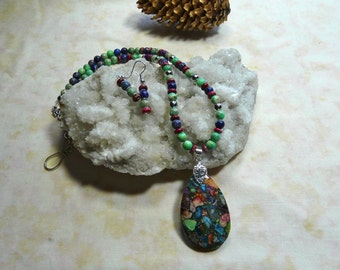 20 Inch Multi-Colored Sea Sediment or Imperial Jasper Teardrop Necklace with Earrings