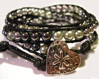 3X Triple Wrap Bracelet, Beaded Wrap Bracelet Boho Bracelet, Faux Pearl, Hematite beads - 624