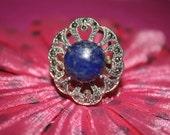 Lapis Lazuli Blue Gemstone Sterling Silver Ring Size 8