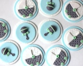 Fondant Cupcake Toppers - Whimsical Baby Boy Shower Fondant Toppers - Perfect for Cookies, Cupcakes and Other Edible Treats
