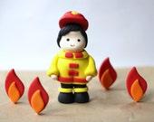 Firefighter Fondant Cake Topper Set - Edible Firefighter Topper - Firetruck Party Set - Firetruck Cake Topper Set
