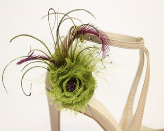Shoes clips - purple and green flower and feathers