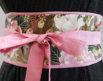 Carnation pink Dupioni silk - Obi Belt - Japanese belt - Figure slimmer - Waist cincher - reversible peacock and flower purple obi belt