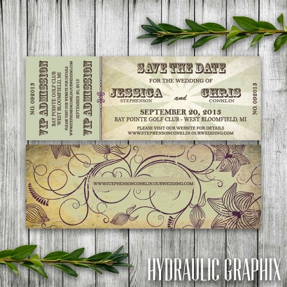 Printable Organic Concert Ticket Save the Date for Organic theme Wedding, VIP Admission Ticket