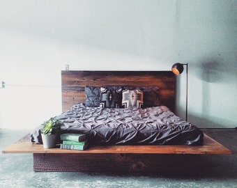 Reclaimed Wood Platform Bed- Barn Wood Bed Frame- Modern Lodge Furniture- Industrial Loft Decor- Rustic Cabin Chic Furnishing- FREE SHIPPING
