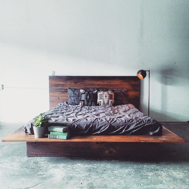 reclaimed wood platform bed barn wood bed frame modern lodge furniture industrial loft decor rustic cabin chic furnishing free shipping
