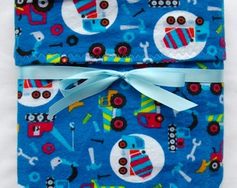 Flannel baby blanket- baby boy blanket- swaddling blanket- trucks and cars- cotton blanket- crib blanket- cot blanket- custom boy gifts