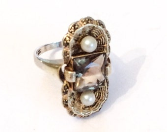 Art Nouveau Ring, Smokey Topaz with Pearl, Sterling Silver, Cantinelle, Fahrner, German Vintage Jewelry WINTER SALE