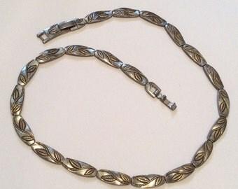 MONET Collar Leaf Necklace 1940s Vintage Jewelry, SUMMER SALE