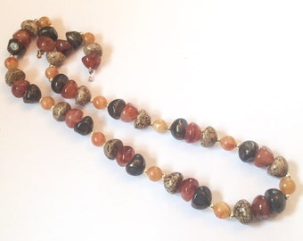 SALE *** Lucite Necklace, Multi Coloured Beads, Agate, 1950s Vintage Jewelry *** SALE