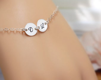 Two initial bracelet, best friend gift, silver disc stamped bracelet, initial jewelry, sterling silver initial bracelet, sisters gift