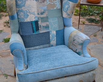 Blue Patchwork Wingback Chair **SOLD**