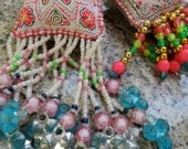 2 Thai Hill Tribe Vintage Pompoms-charms-handmade,pompoms wind charms,tags