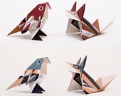 DIY KIT MIX blue/marsala, 6 foxes and 6 birds, folding drafts and instruction (paper, video)