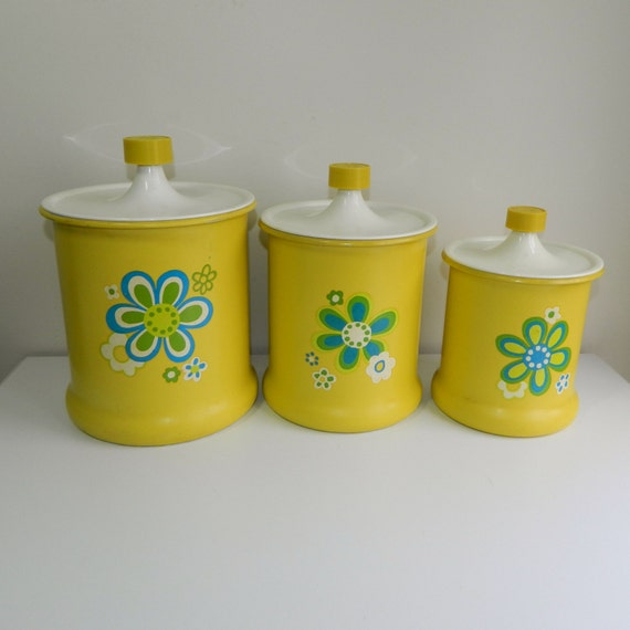 Vintage Kromex Canisters Mod Yellow Kitchen By Bluebirdsshop