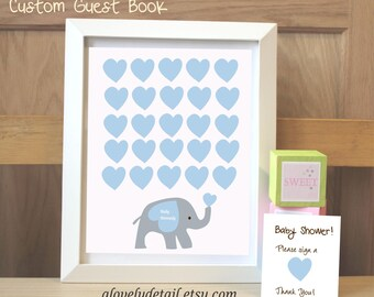 Unique Baby shower guestbook Baby guest book  Elephant Guestbook Print - 11x14  Print  Nursery Print -(Includes Instruction card)