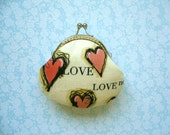 True Love in Cream coin pure with kiss clasp frame - Valentine Gift, Bridesmaid Gift, Birthday gift. Red
