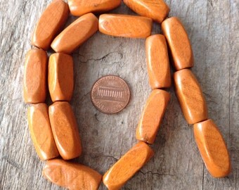 "16"" Strand  24x9mm Mustard Yellow Wood Tube Beads Sizes, Jewelry Making, DIY, Craft Supplies, Jewelry Supplies"