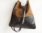 Black Leather and Tan Waxed Canvas Tote Bag - HARRIS - Adjustable Leather Shoulder Bag optional zipper Leather Shopper Bag by HOLM