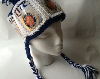 Recycled Miller Lite crocheted beer can hat with braids and pompom
