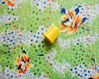 amazing yellow roses print vintage cotton fabric -- 35 wide by 3 yards plus