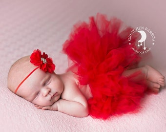 Red Couture Tutu and Matching Couture Flower Headband (SET) - NEWBORN size - Beautiful Valentines Day Photo Prop or Keepsake Photo Prop