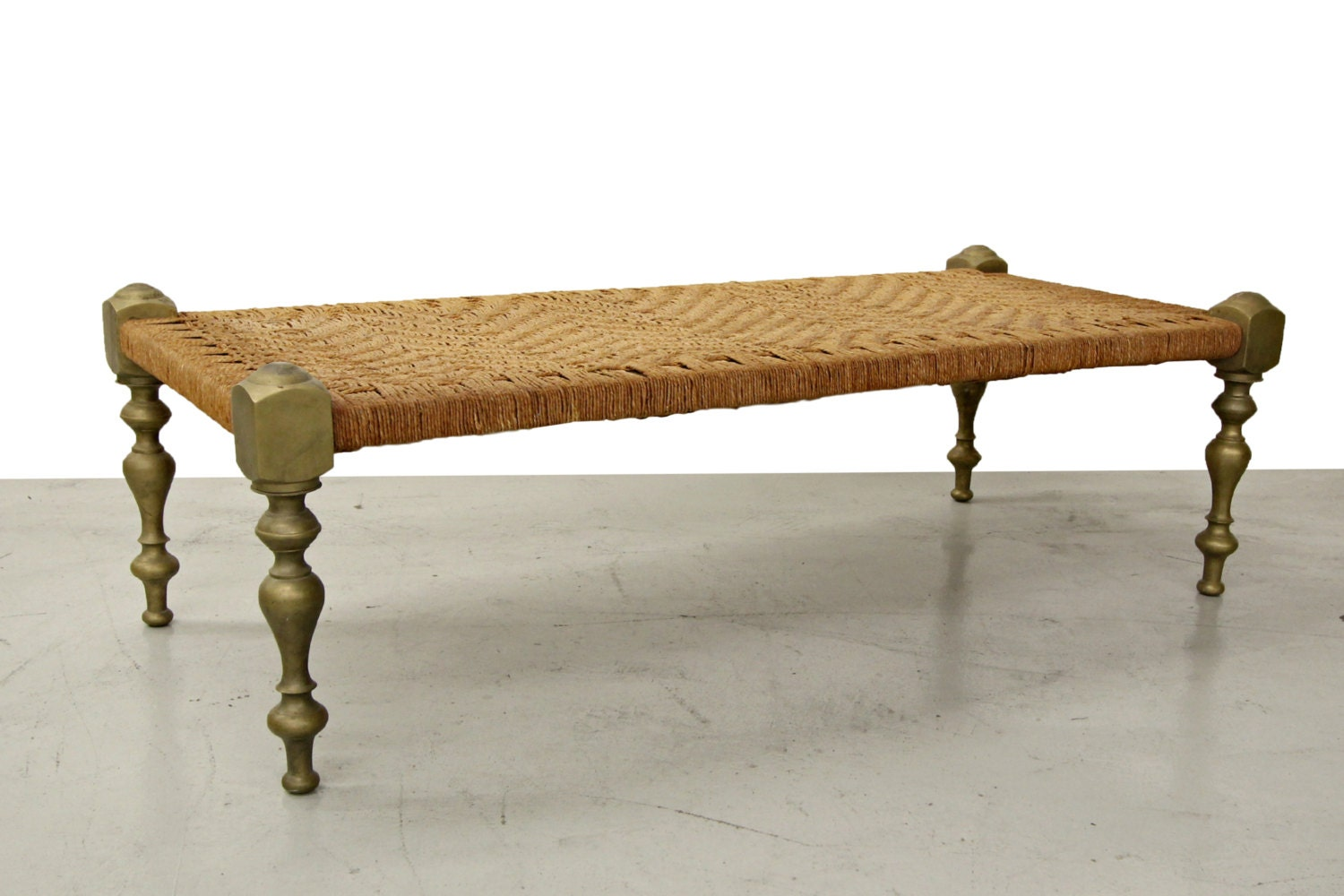 Mid century antique moroccan style woven rush bench with solid brass legs haute juice Moroccan bench