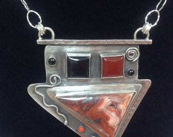 Beautiful Mexican Crazy Lacy Agate with Carnelian and Black Onyx Pendent hung on Sterling chain