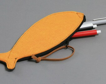 Pen Case, Felt Zipper Purse, Orange.