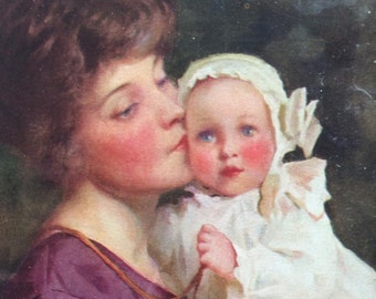 Vintage Magazine Print, Mother and Child, 8 x 10