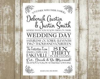 Printable Customized Wedding Invitations, 5x7, Typography