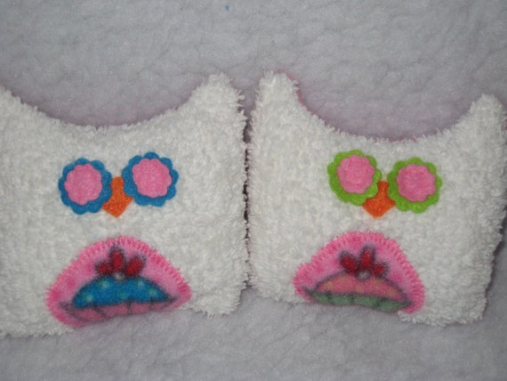"2 MINI Cupcake Owls - White Chenille Cupcake Owls - Ready to Ship - 4.5 ""H x 5 ""W"