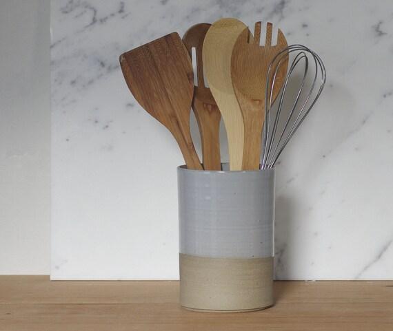 Grey Utensil Holder Modern Vase Or Cylinder By