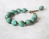 Seagreen Glass Bracelet, Chunky Bracelet, Stacking Braclet, Czech Glass Bracelet