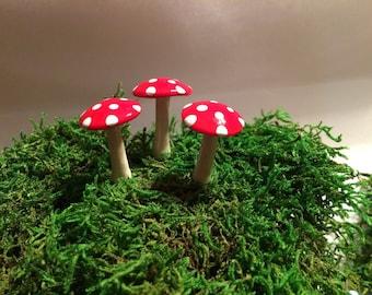 set of 3 red  fairy garden mushrooms miniature terrarium toadstool pixie or gnome woodland accessories