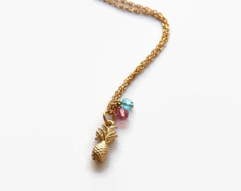 Tropical Paradise Necklace- Delicate Gold Plated Pineapple Charm with Vintage Crystals