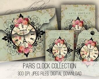 Digital Collage Sheet Download - Paris Clock Envelopes, Tags & Cards - 1154  - Digital Paper - Instant Download Printables